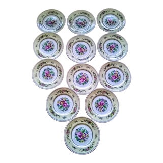 1940's Victorian Floral & Gold Trimmed English Luncheon Plates - Set of 12 For Sale