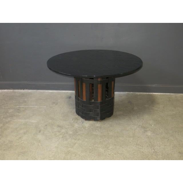 Mid Century Modern Faux Slate Dining Table With Leather Banding For Sale - Image 13 of 13