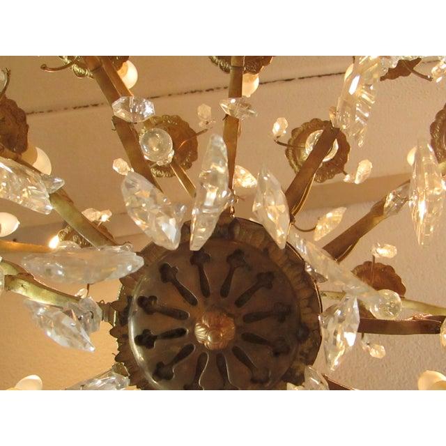 Antique Gold Metal Crystal Chandelier - Image 6 of 6