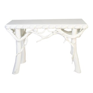 1990s White Lacquered Root Console For Sale