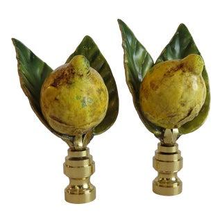 Vintage Italian Lemon & Leaf Finials by C. Damien Fox, a Pair. For Sale