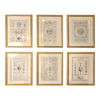 Set of Six Decorative Engravings Late 18th Century After Michelangelo Pergolesi For Sale