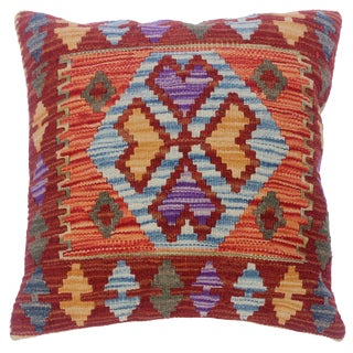 """Charmain Red/Rust Hand-Woven Kilim Throw Pillow(18""""x18"""") For Sale"""