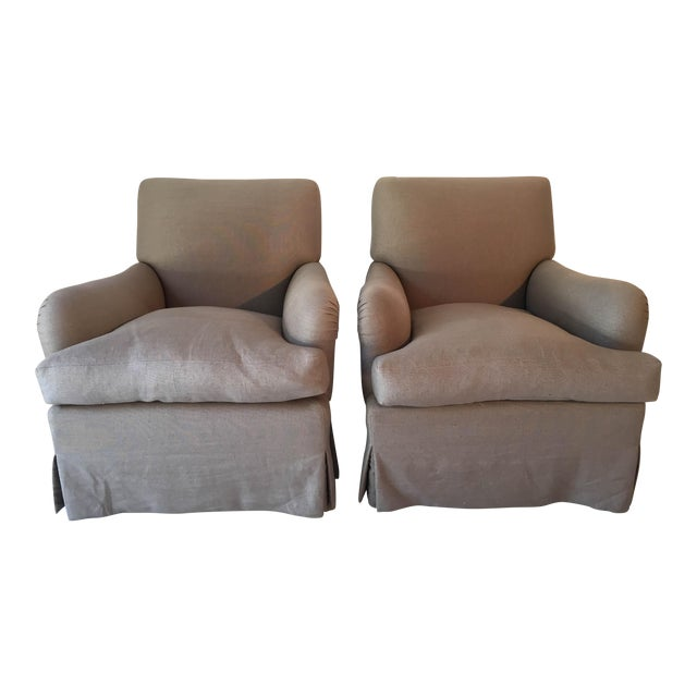 Baker Belgian Linen Club Chairs - A Pair - Image 1 of 9