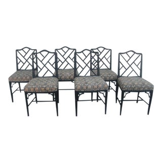 Vintage Mid Century Faux Bamboo Chippendale Dining Chairs- Set of 6 For Sale
