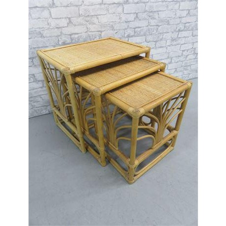 Mid 20th Century 20th Century Rattan Bamboo Nesting Tables - Set of 3 Last Call Firm For Sale - Image 5 of 5