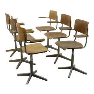 Industrial Tubax Plywood Desk Chairs