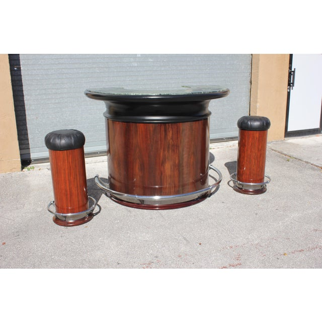 1940s Vintage French Art Deco Macassar Ebony Semicircle Dry Bar Set- 3 Pieces For Sale - Image 11 of 13