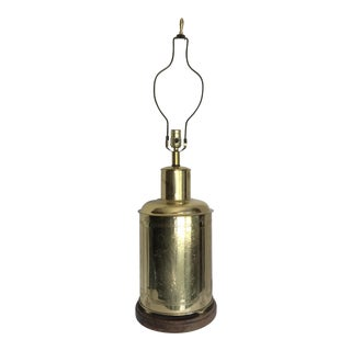 Vintage Asian Brass Etched Canister Lamp