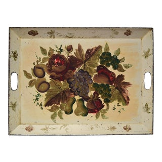 Mid 20th Century Cream Painted Tole Tray For Sale