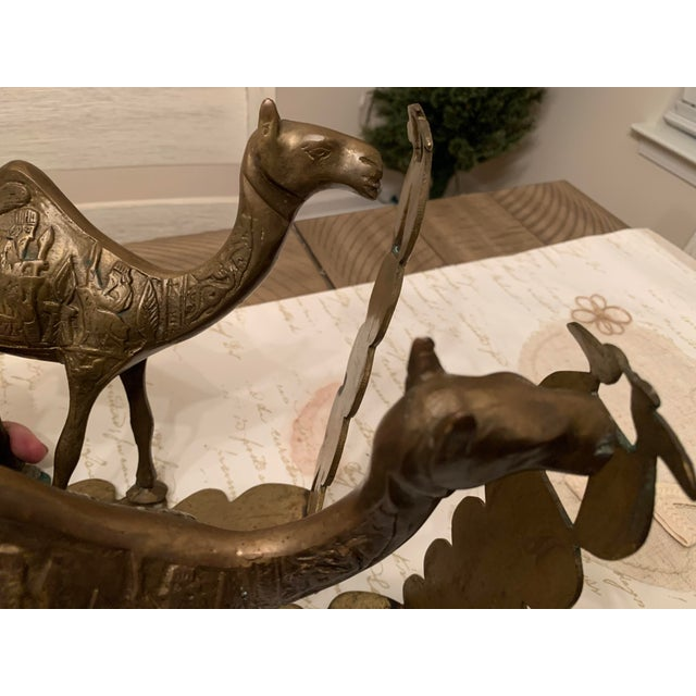 Brass Vintage Mid-Century Egyptian-Style Solid Brass Camel Bookends- a Pair For Sale - Image 8 of 13
