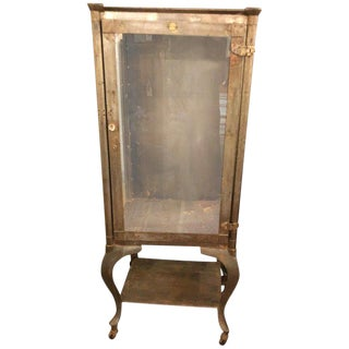 1940s Industrial Steel and Glass Medicine Cabinet For Sale