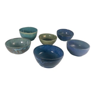 Artisan Blue & Green Glazed Stoneware Bowls - Set of 6