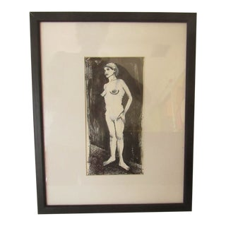 Framed Standing Nude Original Pen & Ink Drawing