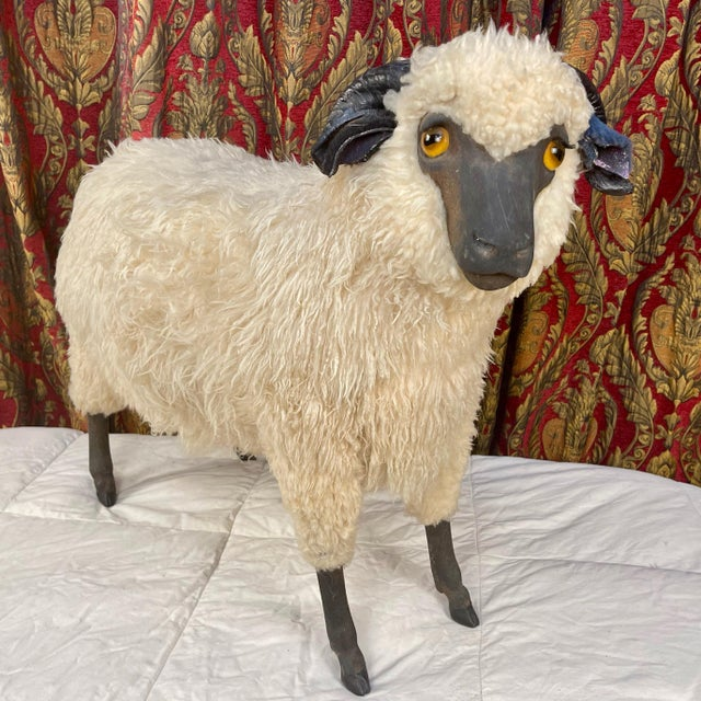 Life Size Vintage Sheep Ottoman in the Style of Lalanne For Sale - Image 11 of 11