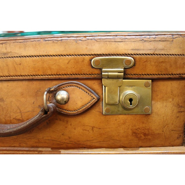 Late 19th Century English Leather Suitcase on Stand For Sale - Image 5 of 7