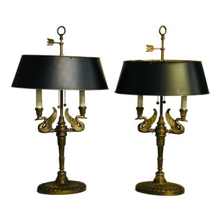 Bronze Lamps With Tole Shades - a Pair For Sale