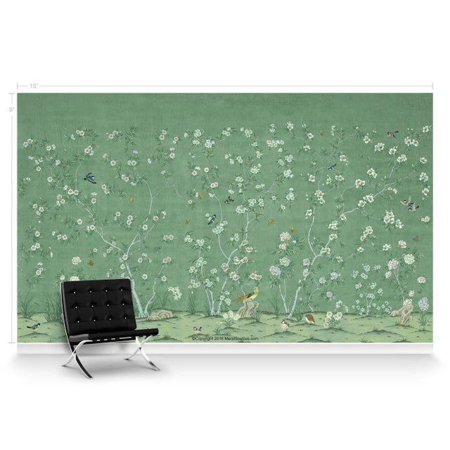 Asian Casa Cosima Emerald Quince Wallpaper Mural - Sample For Sale - Image 3 of 5