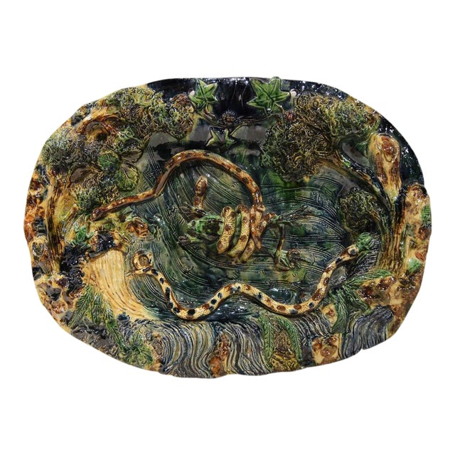19th Century French Barbotine Hand Painted Majolica Palissy Platters - A Pair - Image 5 of 11