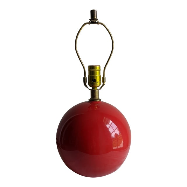 Mid-Century Modern Vintage Red Spherical Ceramic Table Lamp For Sale