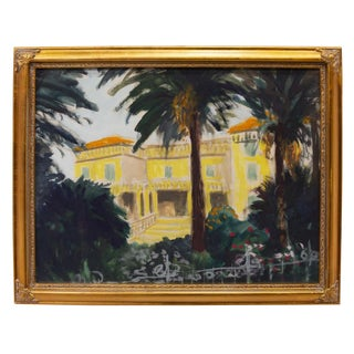 Expressionist Southern France Framed Watercolor by Frank Herrmann For Sale