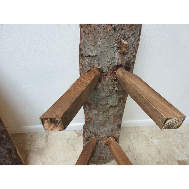 Wood Childs Adirondack Cabin Free Form Slab Wood Live Edge Dining Set - Set of 3 For Sale - Image 7 of 11