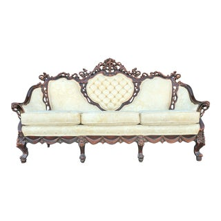 Vintage Baroque Victorian Carved Wood Sofa With Ivory White Floral Brocade For Sale