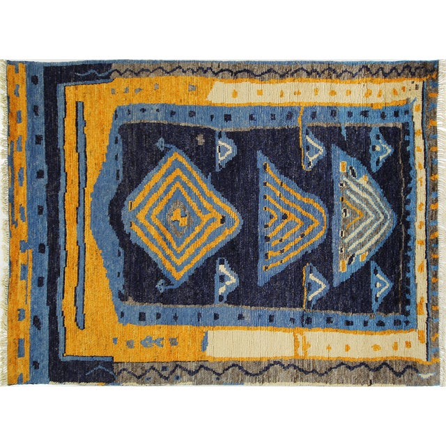 "Blue Wool Tullu Hand Knotted Rug - 7' 10"" X 10' 3"" - Image 1 of 10"