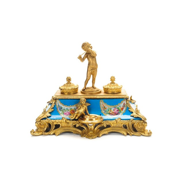 18th C. French Gilt Bronze & Porcelain Inkwell - Image 2 of 9