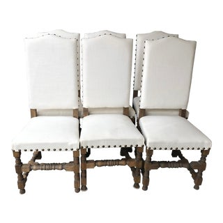 Spanish Mission Nailhead Upholstered Fabric Wood Dining Chairs- Set of 6 For Sale