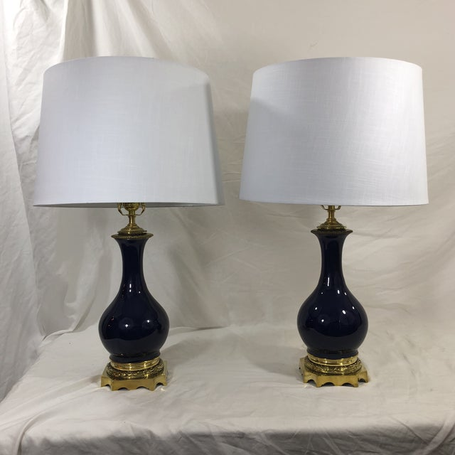 19th Century Pair of Napoleon III Blue Glazed Oil Lamps With Bronzed Mounts For Sale - Image 10 of 11