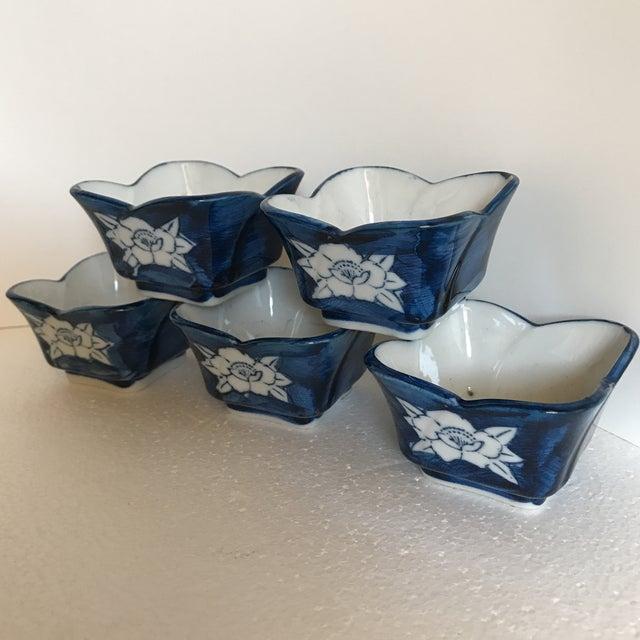Vintage Lotus Flower Ceramic Sauce Dishes - Set of 5 - Image 3 of 7