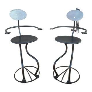"Modernist Figurative ""Stick Figure"" Abstract Tubular Mixed Metal Sculptural Studio Bar Stools - a Pair For Sale"