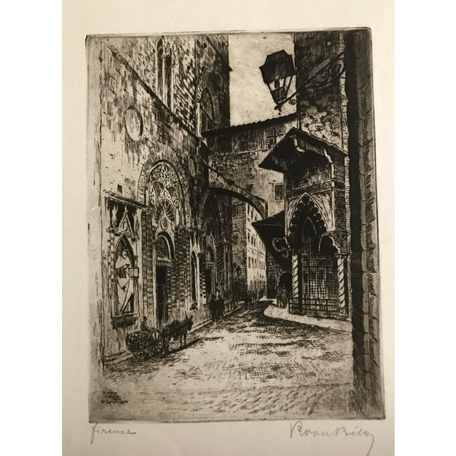 1925 Vintage Florence Italy Street Scene Etching - Image 2 of 5