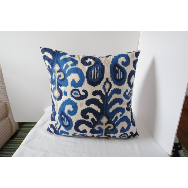 Custom Blue Ikat Pillows - A Pair - Image 3 of 7