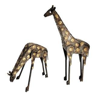 Vintage Pair of Brutalist Metal Welded Giraffe Sculptures in the Style of Paul Evans - Mid Century Modern Boho Chic Minimalist For Sale
