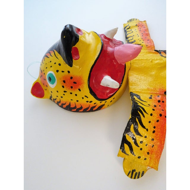 Arts & Crafts Hand Painted Tiger Sculpture For Sale - Image 3 of 11