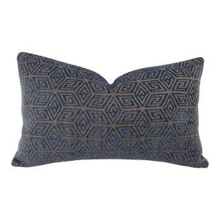 "Schumacher Cosmati Chenille in Ultramarine Lumbar Pillow Cover - 12"" X 20"" F For Sale"