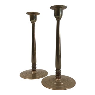 Vintage Polished Bronze Candlesticks - A Pair