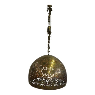 Brass Dome Hanging Light Fixture For Sale