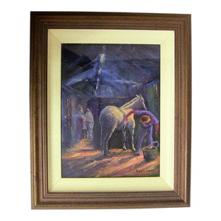 Irish Oil on Canvas of Preparing the Champion by Seamus Coleman For Sale
