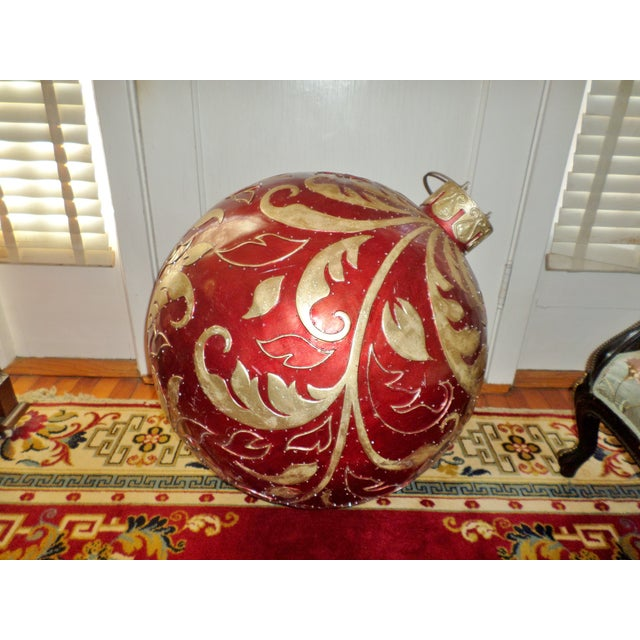Ruby Red Vintage Christmas Store Display/Prop Fiberglass Christmas Ornament For Sale - Image 8 of 8