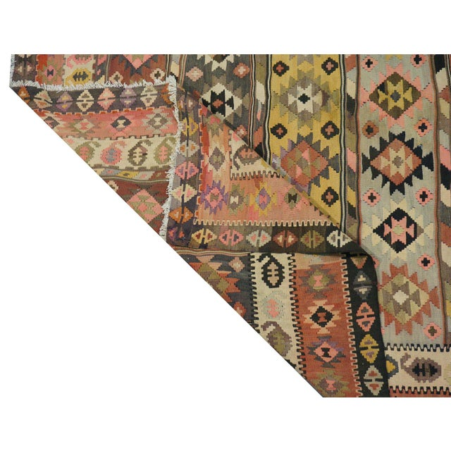 """Vintage Persian Kilim - 7'3"""" x 12'4"""" For Sale - Image 4 of 4"""