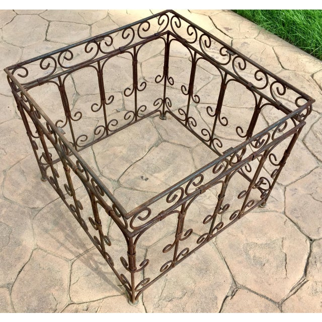 White Moroccan Square Brown and Grey Mosaic Tile Coffee Table on Iron Base For Sale - Image 8 of 12