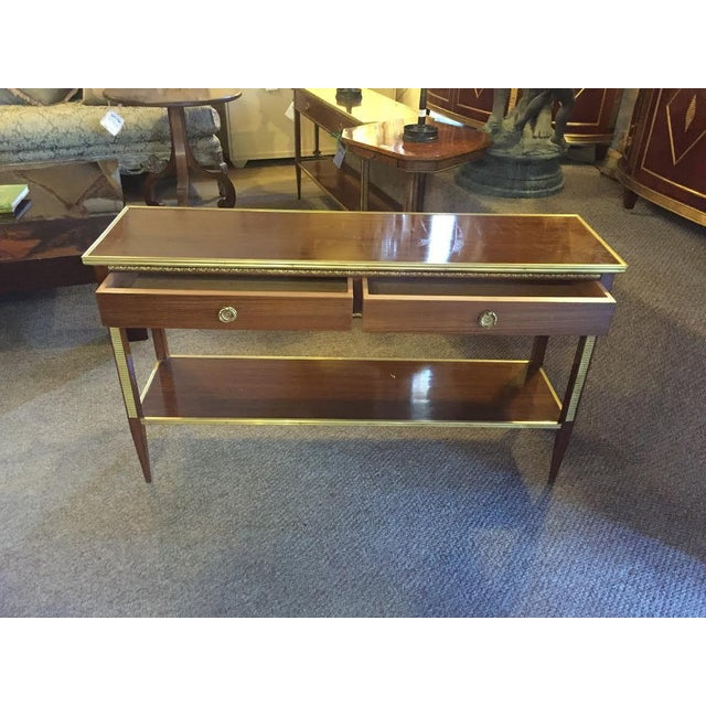 Two Drawer Bronze Mounted Console Tables - Pair - Image 2 of 8