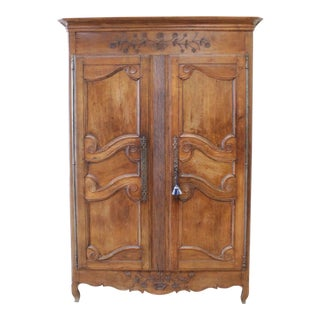 19th Century Carved Walnut French Provincial Armoire Cabinet For Sale