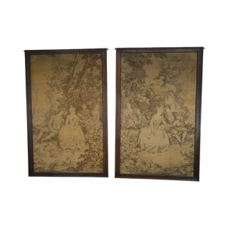Large Antique Pair of French Tapestry in Oak Frames For Sale