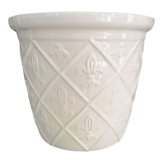 Blanc De Chine Ceramic Fleur-De-Lis Planter For Sale