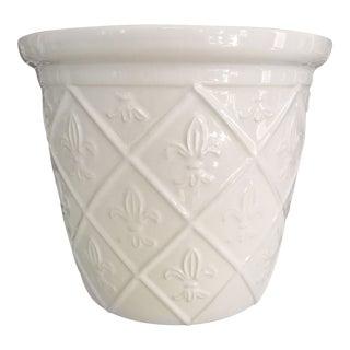 White on White Ceramic Fleur-De-Lis Planter For Sale