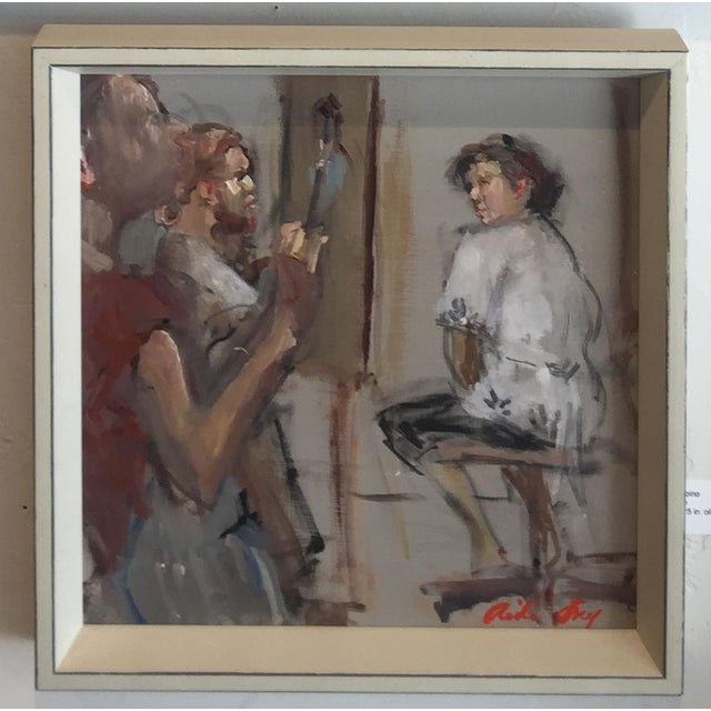This contemporary figurative painting shows artists at work. This painting is framed. Frame size is 13.5 x 13.5 in. The...